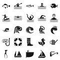 Aqua icons set, simple style Royalty Free Stock Photo