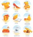 Aqua ikony wysadzani na zakupy Obrazy Stock