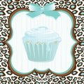 Aqua leopard print cupcake birthday Stock Photo
