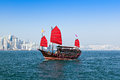 Aqua luna boat hong kong february the junk provides the harbor tour on february in hong kong a red chinese traditional junk Stock Photography