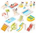 Aqua Park Isometric Icons Set Royalty Free Stock Photo
