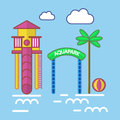 Aqua park with slide attraction and palm tree colorful poster