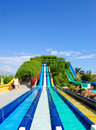 Aqua park water attractions Royalty Free Stock Photo