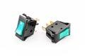 Aqua rocker switches con la luz Imagen de archivo libre de regalías