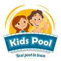Aqua water park or swimming pool logo design Royalty Free Stock Photo