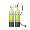 Aqualang or Scuba Oxygen Balloons. Vector illustration of yellow Diving Equipment. Underwater sport item Royalty Free Stock Photo