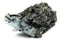 Aquamarine crystal from erongo namibia nestled in matrix isolated on white background Royalty Free Stock Photos