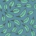 Aquamarine leaves pattern