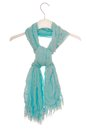 Aquamarine scarf on hanger a is Royalty Free Stock Image