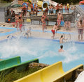 Aquapark constructions in swimming-pool Royalty Free Stock Images