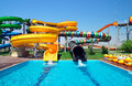Aquapark sliders aqua park water park kirillovka ukraine Royalty Free Stock Photo