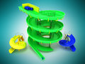 Aquapark water carousels green, blue, yellow 3d render on blue b