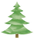 Aquarel cristmas tree Stock Image