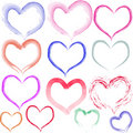 Aquarell Hearts Stock Photography
