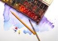 Aquarelle painting lesson background image Stock Photo