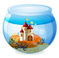 An aquarium with a castle illustration of on white background Stock Image