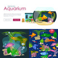 Aquarium fish, seaweed underwater, banner template layout with marine animal Royalty Free Stock Photo