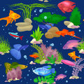 Aquarium fish, seaweed underwater seamless pattern vector illustration