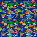 Aquarium fish vector illustration seamless pattern