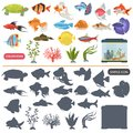 Aquarium flora and fauna color flat and simple icons set Royalty Free Stock Photo