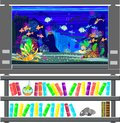 Aquarium with marine fishes and bookshelf Royalty Free Stock Photos