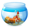 An aquarium with a palace illustration of on white background Royalty Free Stock Photo