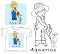 Aquarius boy with watering can Στοκ Εικόνες