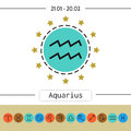 Aquarius. Signs of zodiac, flat linear icons for horoscope, predictions. Royalty Free Stock Photo