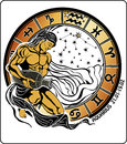 Aquarius and the zodiac sign horoscope circle ill tanned long haired male sits pouring water out of a vase he dressed in drapery Royalty Free Stock Photography