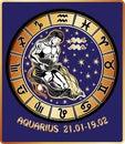 Aquarius zodiac sign. Horoscope circle.Retro Royalty Free Stock Photo