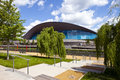 The aquatics centre in the queen elizabeth olympic park in londo impressive located beside waterworks river stratford london Stock Photography
