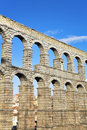 The aqueduct and ancient Segovia Stock Images