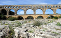 Aqueduct Pont du Gard in France Stock Photo
