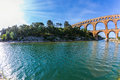 The aqueduct Pont du Gard  was built in Roman times Royalty Free Stock Photo