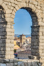 Aqueduct of Segovia at Castile and Leon, Spain Stock Photo