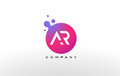 AR Letter Dots Logo Design with Creative Trendy Bubbles.