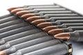 Ar15 m16 m4 kalashnikov cartridges with ammo clip isolated on wh Royalty Free Stock Photo