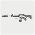 AR-15. Vector illustration. Royalty Free Stock Photo