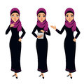 Arab business woman character. Three different poses