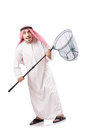 Arab businessman catching net white Royalty Free Stock Photography