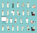 Arab Businessman Character Icons Set Retro Vintage Cartoon Design Vector illustration