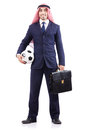 Arab businessman with football Royalty Free Stock Photo