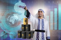 The arab businessman in oil price business concept