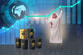 The arab businessman in oil price business concept Royalty Free Stock Photo