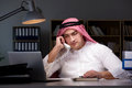 The arab businessman working late in office