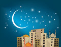 Arab city night landscape arabic and homes the mosque and the Stock Photos
