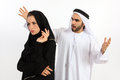 An arab couple with a lack of understanding Royalty Free Stock Image