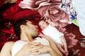 Arab egyptian man with his newborn baby girl