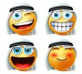 Arab emoticon or emojis vector set. Saudi arab emoticon face head with naughty and excited wearing.