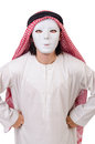 Arab in hypocrisy concept on white Royalty Free Stock Image